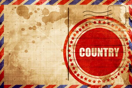airmail stamp: country music, red grunge stamp on an airmail background