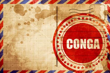 conga, red grunge stamp on an airmail background