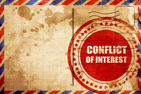conflicting: conflict of interest, red grunge stamp on an airmail background