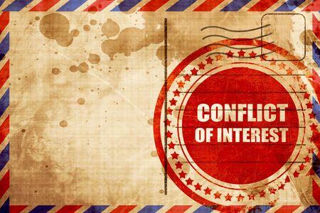 conflit d'intérêts, timbre grunge rouge sur un fond par avion