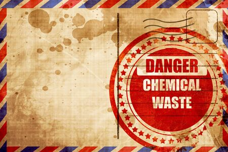 waste prevention: Chemical waste sign with some smooth lines, red grunge stamp on an airmail background Stock Photo