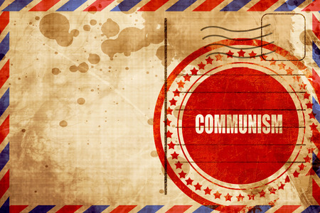 industrial worker: communism, red grunge stamp on an airmail background