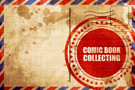 stamp collecting: comic book collecting, red grunge stamp on an airmail background