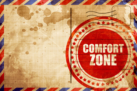 persevere: comfort zone, red grunge stamp on an airmail background
