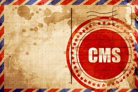 airmail stamp: cms, red grunge stamp on an airmail background