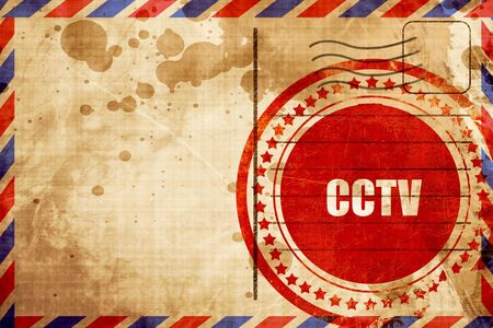 airmail stamp: cctv, red grunge stamp on an airmail background Stock Photo