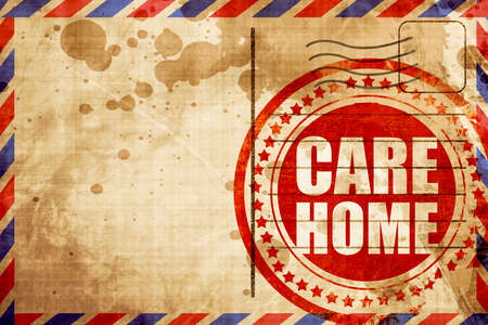 socially: care home, red grunge stamp on an airmail background