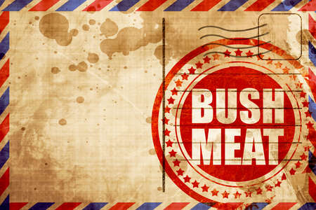 feed the poor: bushmeat, red grunge stamp on an airmail background