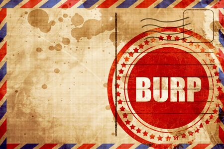 burping: burp, red grunge stamp on an airmail background Stock Photo