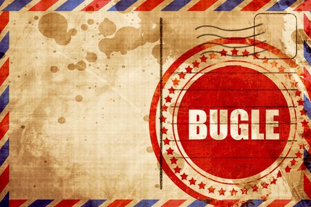 bugle: bugle, red grunge stamp on an airmail background Stock Photo