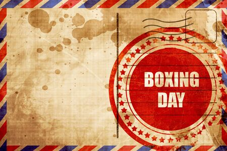 airmail stamp: boxing day, red grunge stamp on an airmail background Stock Photo