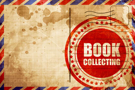 stamp collecting: book collecting, red grunge stamp on an airmail background Stock Photo