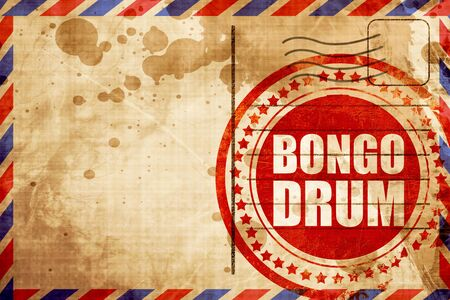 bongo drum: bongo drum, red grunge stamp on an airmail background Stock Photo