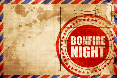 bonfire night: bonfire night, red grunge stamp on an airmail background
