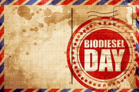 biodiesel: biodiesel day, red grunge stamp on an airmail background Stock Photo