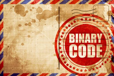 cryptogram: binary code, red grunge stamp on an airmail background