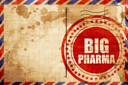 pharma: big pharma, red grunge stamp on an airmail background