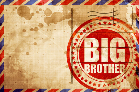 big brother spy: big brother, red grunge stamp on an airmail background Stock Photo