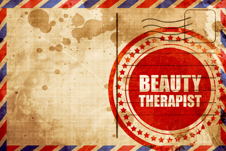 beauty therapist: beauty therapist, red grunge stamp on an airmail background
