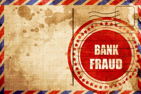 stolen data: Bank fraud background with some smooth lines, red grunge stamp on an airmail background
