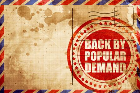 replenishing: back by popular demand, red grunge stamp on an airmail background