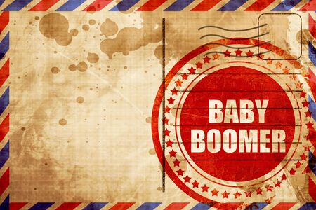 baby boomer: baby boomer, red grunge stamp on an airmail background Stock Photo