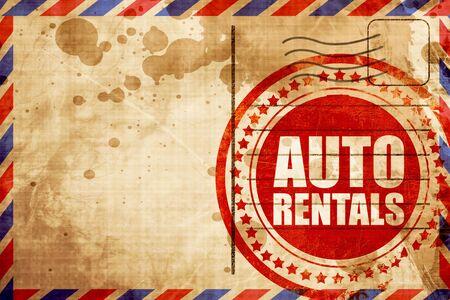 rentals: auto rentals, red grunge stamp on an airmail background