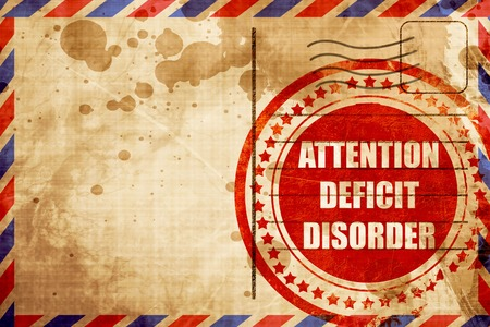 hyperactivity: Attention deficit disorder with some soft smooth lines, red grunge stamp on an airmail background Stock Photo