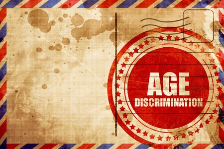 pension cuts: age discrimination, red grunge stamp on an airmail background