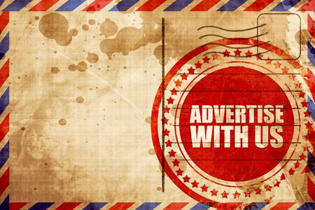 advertise: advertise with us, red grunge stamp on an airmail background