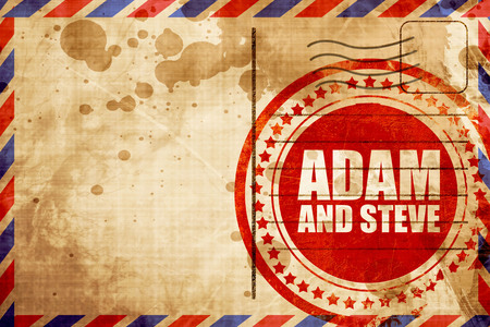 adam eve: adam and steve, red grunge stamp on an airmail background
