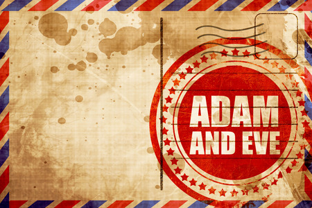adam and eve: adam and eve, red grunge stamp on an airmail background