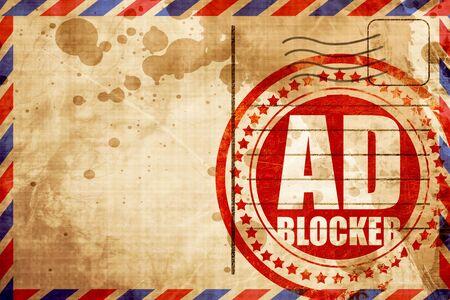 inhibition: ad blocker, red grunge stamp on an airmail background