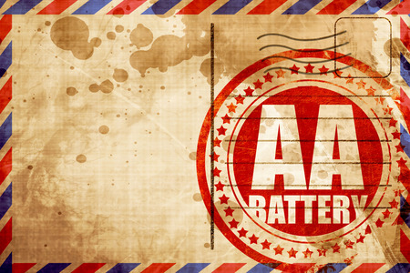 aa: aa battery, red grunge stamp on an airmail background