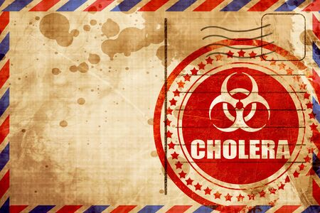 colera: Cholera concept background with some soft smooth lines, red grunge stamp on an airmail background