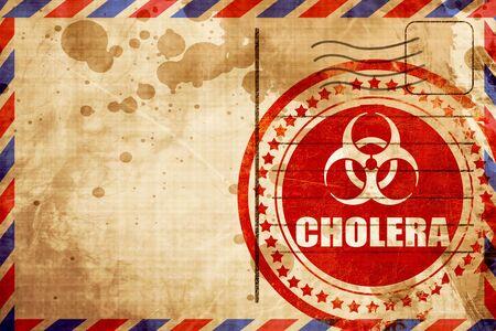 colera: El c�lera concepto de fondo con unas l�neas suaves suaves, grunge sello rojo sobre un fondo de correo a�reo Foto de archivo