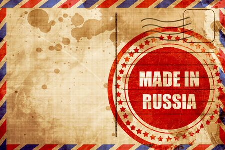 made russia: Made in russia with some soft smooth lines, red grunge stamp on an airmail background