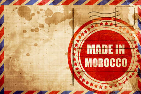 made in morocco: Made in morocco with some soft smooth lines, red grunge stamp on an airmail background