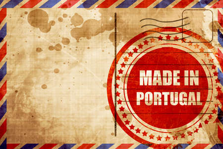 made in portugal: Made in portugal with some soft smooth lines, red grunge stamp on an airmail background Stock Photo