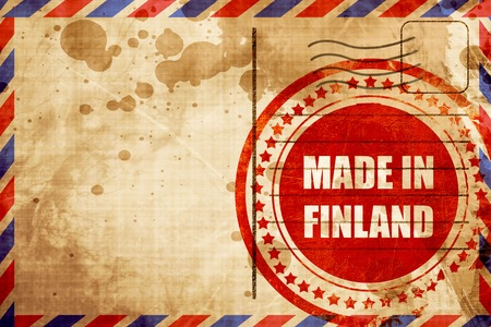 made in finland: Made in finland with some soft smooth lines, red grunge stamp on an airmail background