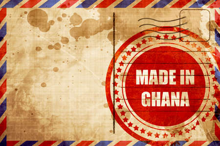 ghanese: Made in ghana with some soft smooth lines, red grunge stamp on an airmail background