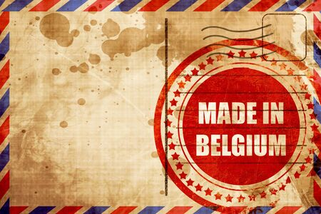 made in belgium: Made in belgium with some soft smooth lines, red grunge stamp on an airmail background