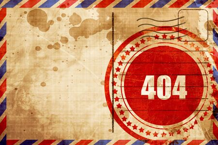 airmail stamp: 404 page, red grunge stamp on an airmail background