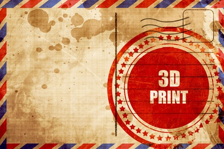 out of production: 3d print, red grunge stamp on an airmail background
