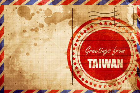Greetings from taiwan card with some soft highlights red grunge greetings from taiwan card with some soft highlights red grunge stamp on an airmail background m4hsunfo