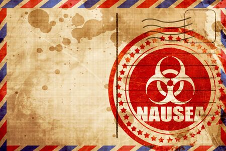 nausea: Nausea concept background with some soft smooth lines, red grunge stamp on an airmail background
