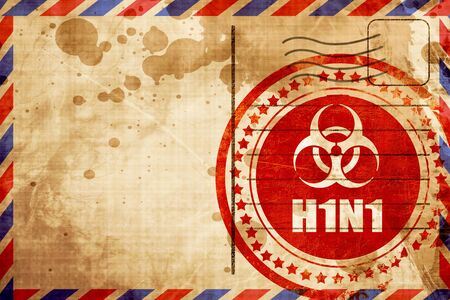 h1n1: h1n1 virus concept background with some soft smooth lines, red grunge stamp on an airmail background