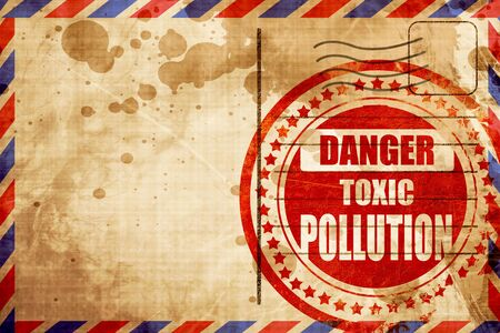 waste prevention: Pollution waste sign with some smooth lines, red grunge stamp on an airmail background