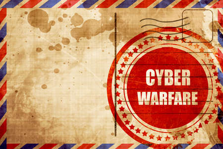 intercept: Cyber warfare background with some smooth lines, red grunge stamp on an airmail background