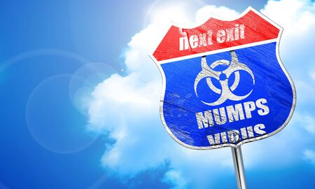 mumps: Mumps virus concept background with some soft smooth lines, 3D rendering, blue street sign